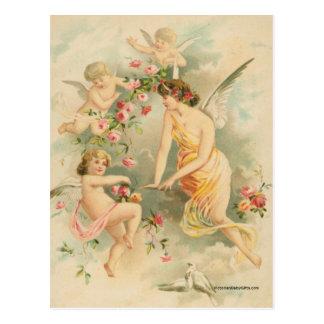 Angel with Three Cherubs Postcard