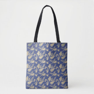 Angel with Trumpet - pattern - indigo Tote Bag