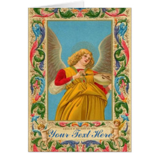 Angel With Violin And Florentine Pattern Card