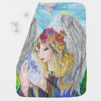 Angel with Winged Unicorn in Hands Baby Blanket