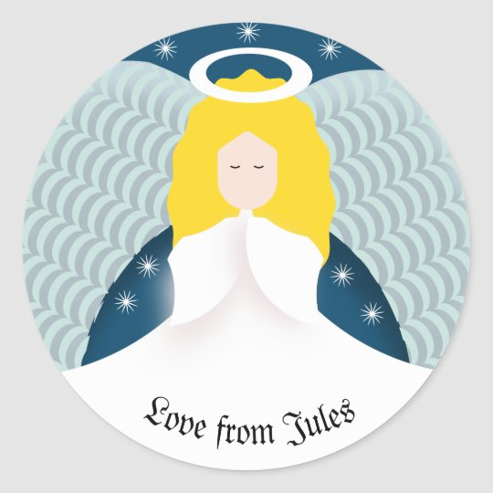 Angel with Wings Classic Round Sticker