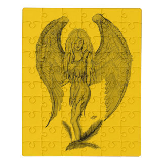 Angel , yellow black design jigsaw puzzle