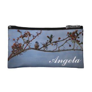 Angela cosmetic bag with cute finch