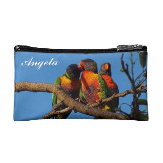 Angela cosmetic bag with Rainbow Lorikeets