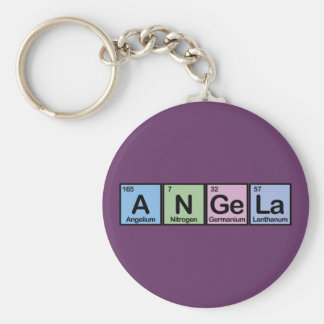 Angela made of Elements Basic Round Button Key Ring