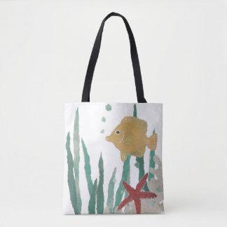 Angelfish, Starfish, Seaweeds, Ocean, Sea Creature Tote Bag