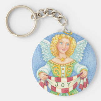 Angelic Cartoon Christmas Angel with Joy Banner Basic Round Button Key Ring