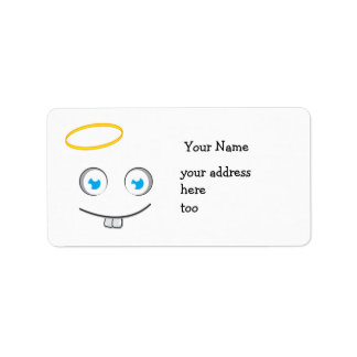 Angelic expression smile label address label