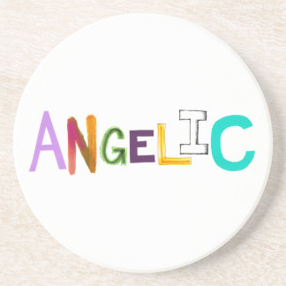 Angelic fun colorful word art sweet angel good coasters