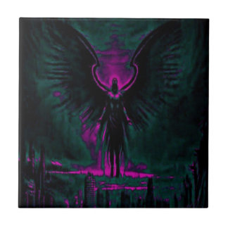 Angelic Guardian Purple and Teal Ceramic Tile