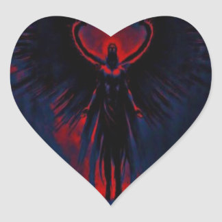 Angelic Guardian Red and Blue Heart Sticker