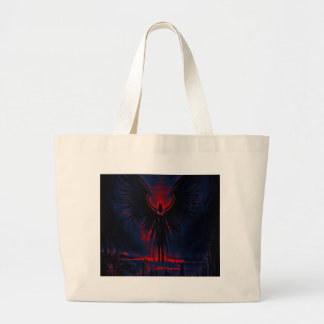 Angelic Guardian Red and Blue Large Tote Bag