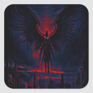Angelic Guardian Red and Blue Square Sticker