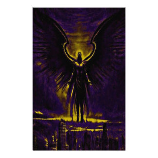 Angelic Guardian Yellow and Purple Stationery