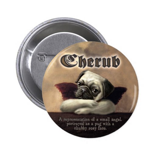 Angelic Pug Cherub Gift Items Buttons