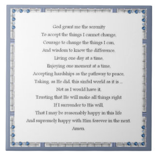 Angelic Serenity Prayer Inspirational Collection Ceramic Tile