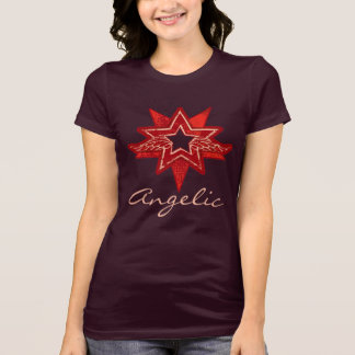 Angelic star red wings t-shirt