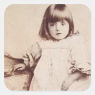 Angelic vintage little girl sticker square sticker