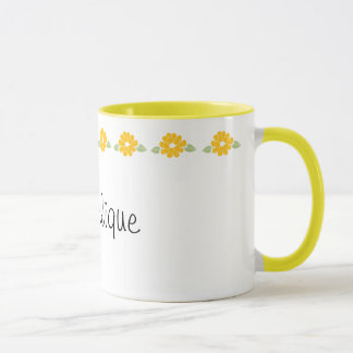 Angelique Name Yellow Flowers Mug