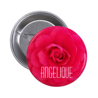 Angelique on a Pink Camellia 6 Cm Round Badge