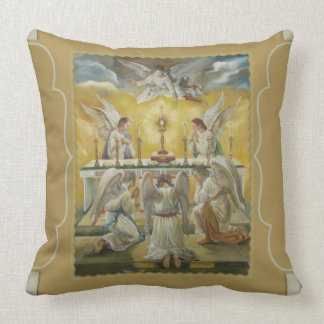 Angels Eucharist Adoration Altar Monstrance Throw Pillow