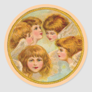Angels In A Gold Ring Circle Round Sticker