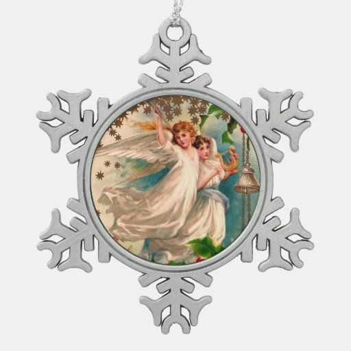 Angels in White with Silver Bell & Golden Harp Ornaments