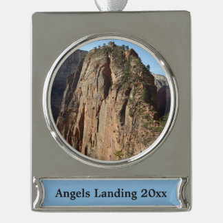 Angels Landing at Zion National Park Silver Plated Banner Ornament