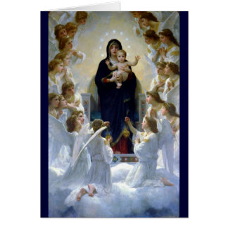 Angels madona baby christian religion clouds card
