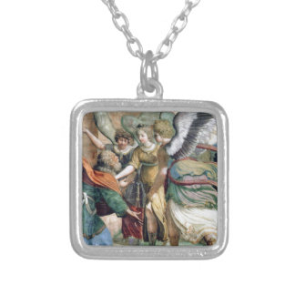 Angels Man Religion Painting Square Pendant Necklace