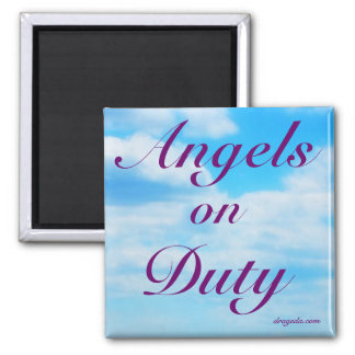 Angels on Duty - From the Poem of the Same Name Square Magnet
