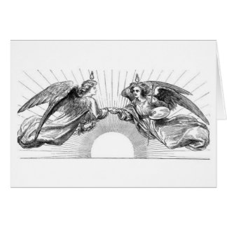 Angels over depiction of sun. card