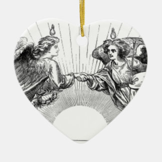 Angels over depiction of sun. ceramic ornament