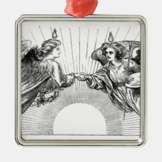 Angels over depiction of sun. metal ornament