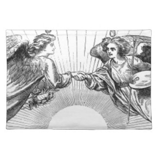 Angels over depiction of sun. placemat