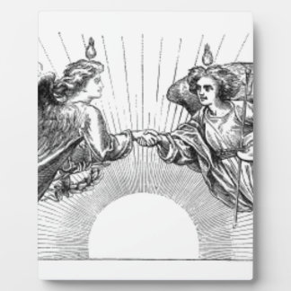Angels over depiction of sun. plaque