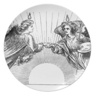 Angels over depiction of sun. plate