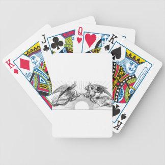Angels over depiction of sun. poker deck