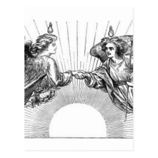 Angels over depiction of sun. postcard