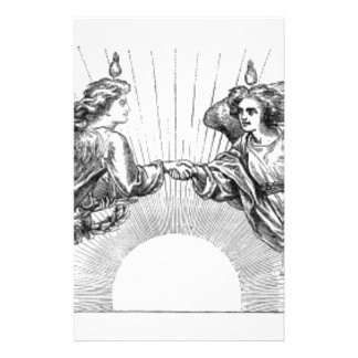 Angels over depiction of sun. stationery