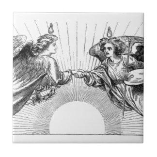 Angels over depiction of sun. tile