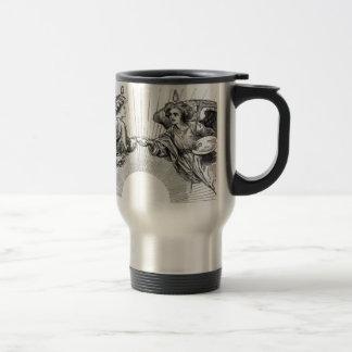 Angels over depiction of sun. travel mug