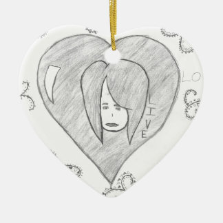 Angels Peace Love Live Drawing Ceramic Heart Decoration
