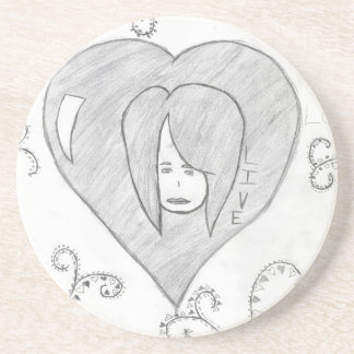 Angels Peace Love Live Drawing Coaster