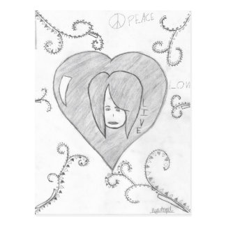 Angels Peace Love Live Drawing Postcard
