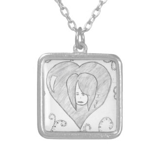 Angels Peace Love Live Drawing Silver Plated Necklace