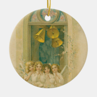 Angels Praying under Bells Holiday Ornament