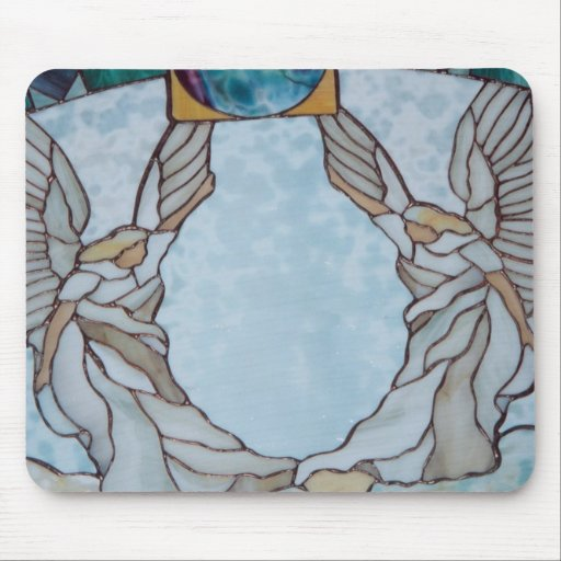 Angels Stained glass Window Art mouse pad