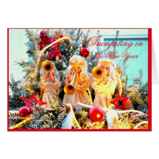 Angels trumpeting in the new year card