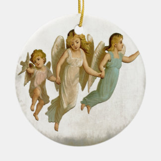 Angels Vintage Holiday Christmas Art Ceramic Ornament
